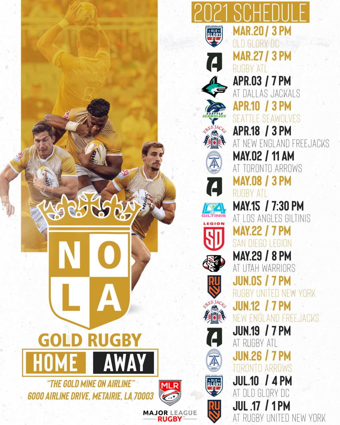 nola gold 2021 schedule
