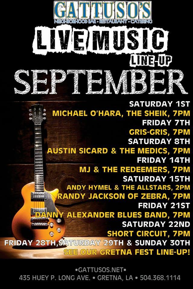Gattuso's September Music Schedule