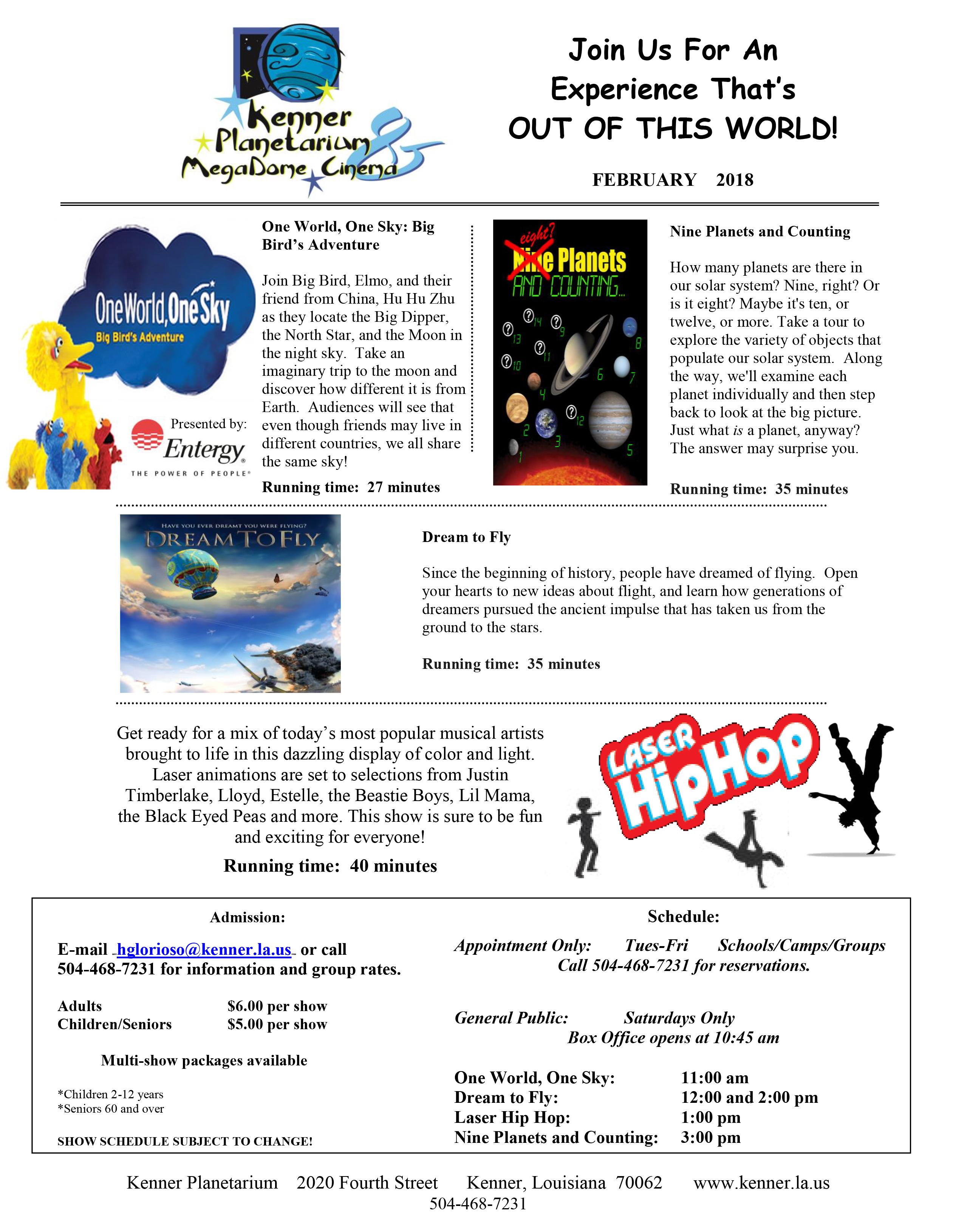 Kenner Planetarium February Schedule