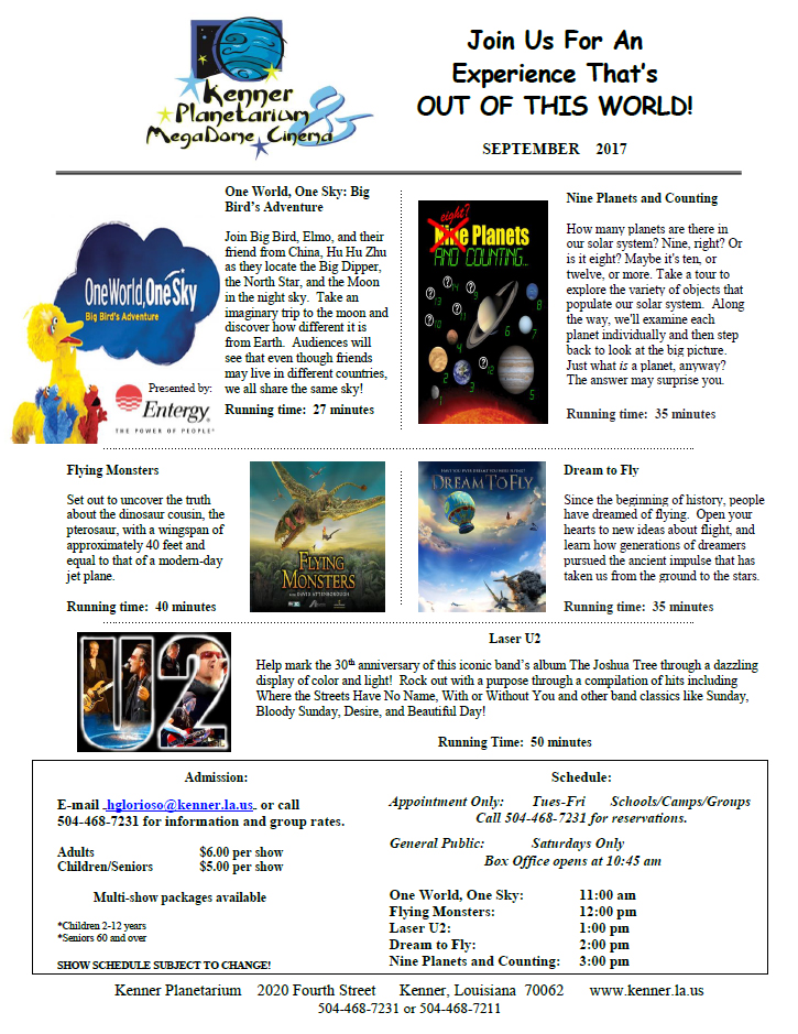 Kenner Planetarium September Schedule