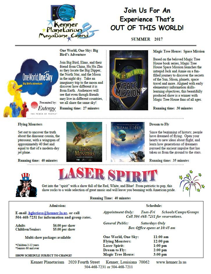 Kenner Planetarium Summer Schedule
