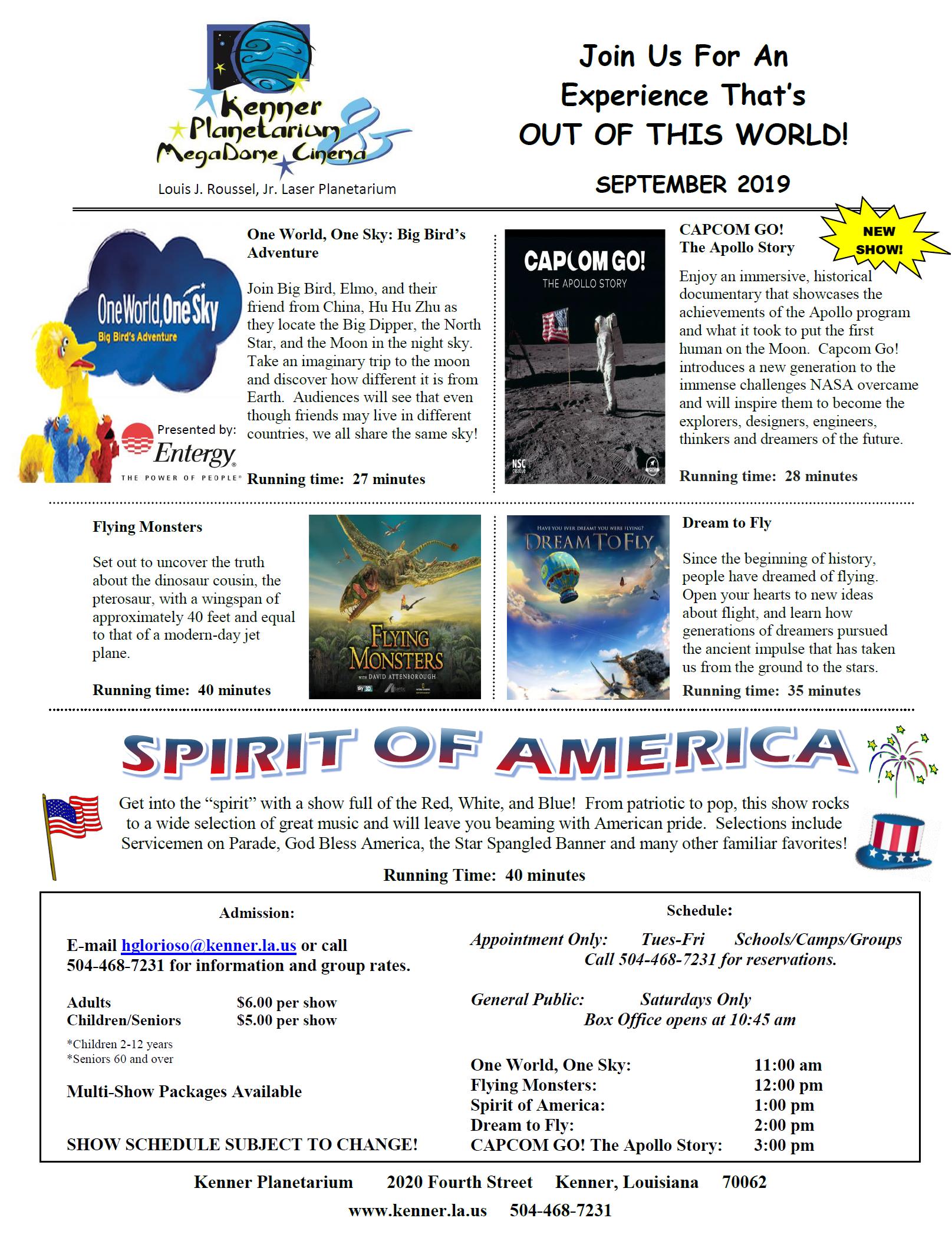 September Planetarium Schedule